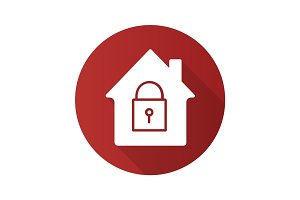 Locked house flat design long shadow glyph icon