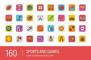 160 Sports and Games Icons