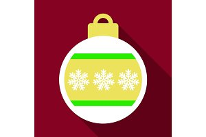 Flat Icon with shadow christmas ball