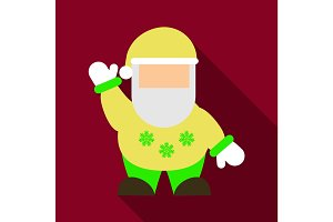 Flat Icon with shadow Santa Claus