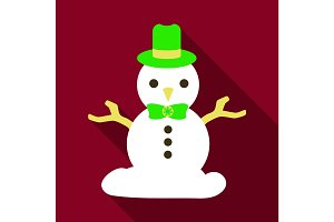 Flat Icon with shadow snowman