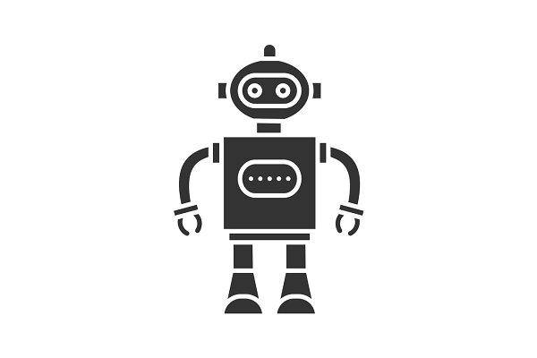 Toy robot glyph icon