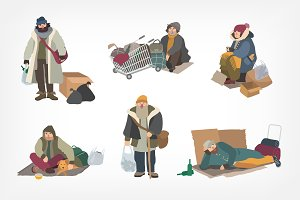 Set of homeless people