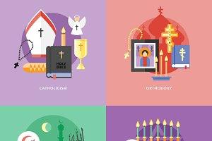 Flat Religions Concepts Set