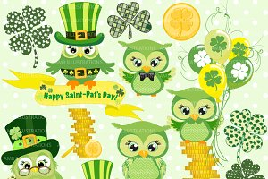 St. Paddy's Day Owls Clipart AMB-825