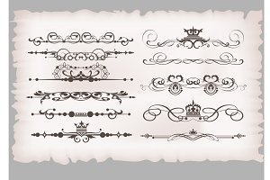 Calligraphic design elements set