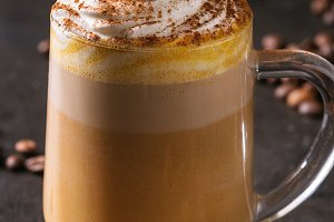 Glass of pumpkin latte