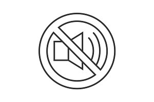 Forbidden sign with loudspeaker linear icon