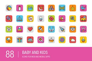 88 Baby and Kids Icons