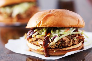 bbq pulled pork sandwich with slaw