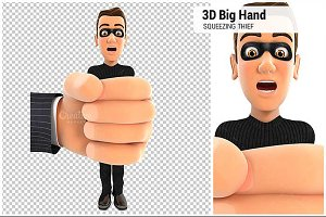 3D Big Hand Squeezing Thief