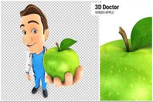 3D Doctor Holding Green Apple