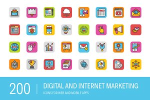 200 Digital Internet Marketing Icons