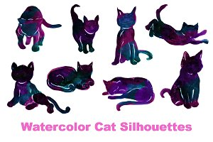 Watercolor Cat Silhouettes Clipart