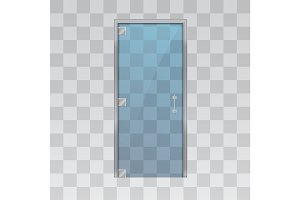 Glass door isolated on grey background.