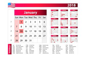 Calendar 2018 USA holidays vector