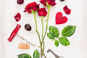 Red roses and holiday accessories