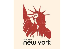 T-shirt and apparel vector design with the Statue of Liberty and