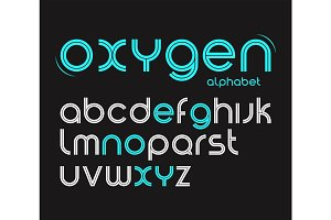 Vector round style minimalistic font, alphabet letters