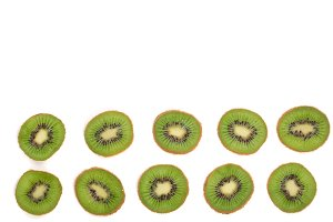Kiwi fruit isolated on white background, with copy space for your text. Top view