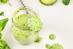 Green smoothie, close up