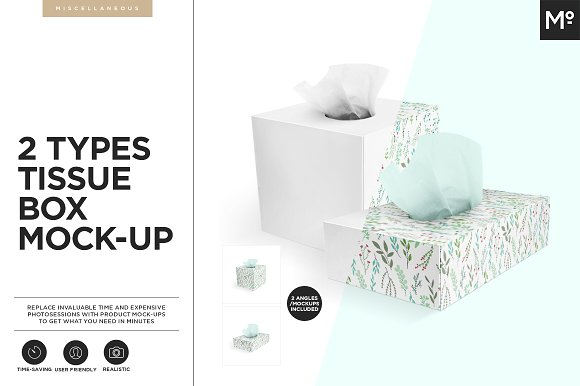 2 Types Tissue Box Mock-ups-Graphicriver中文最全的素材分享平台