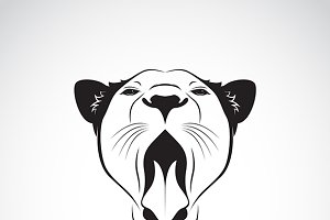 Vector of a female lion open mouth.