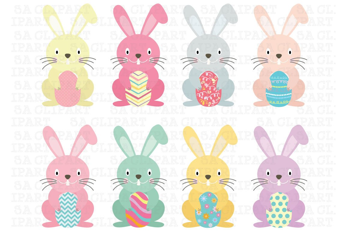 Easter Bunny Clipart Illustrations Creative Market