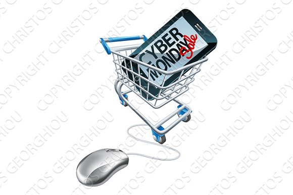 Cyber Monday Sale Phone Mouse Trolley Sign