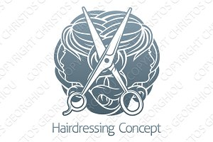 Faces and Scissors Hair Salon Hairdresser Concept