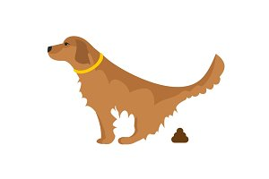 Dog pooping Illustration.