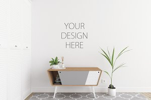 White interior - wall art mockup