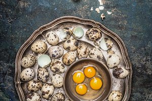 Quail eggs in vintage plate