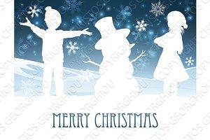 Children Building Snowman Christmas Scene