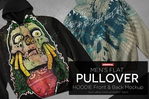 Men's Flat Pullover Hoodie Mockups