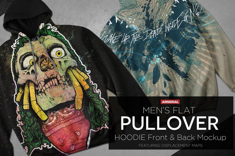 a230788e68f Men s Flat Pullover Hoodie Mockups ~ Product Mockups ~ Creative Market