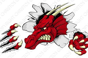 Red dragon mascot breaking through wall