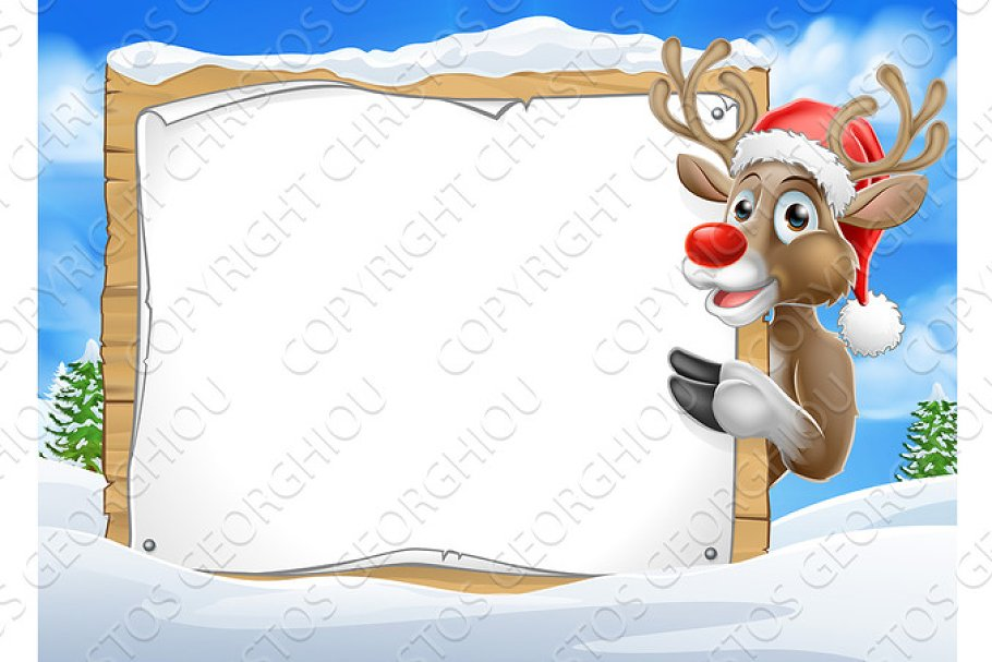 0882ebb9e6e3a Santa Hat Reindeer Christmas Scene Sign Background ~ Illustrations ...