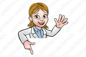 Cartoon Scientist Character Pointing at Sign