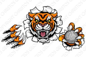 Tiger Holding Golf Ball Breaking Background