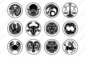 Zodiac horoscope astrology star signs icon set