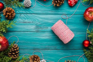 Christmas dark green frame background with twine