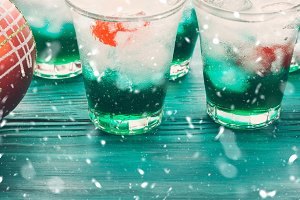 Christmas holiday party green and red drinks