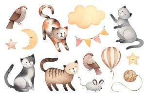 Illustrations of cute cats