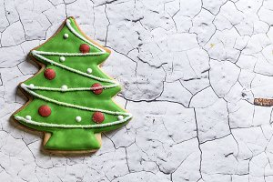Christmas cookies on wooden table.