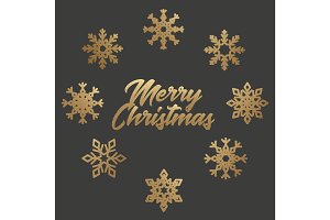 Merry Christmas poster with snowflakes