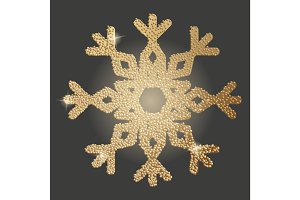 Gold snowflake icon. Christmas symbol