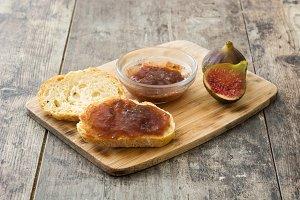 Sweet fig jam smeared on a toast