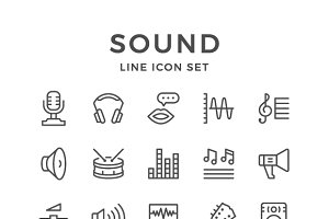 Set line icons of sound