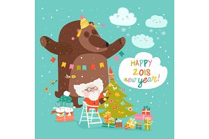 Christmas card with Santa Claus and bear